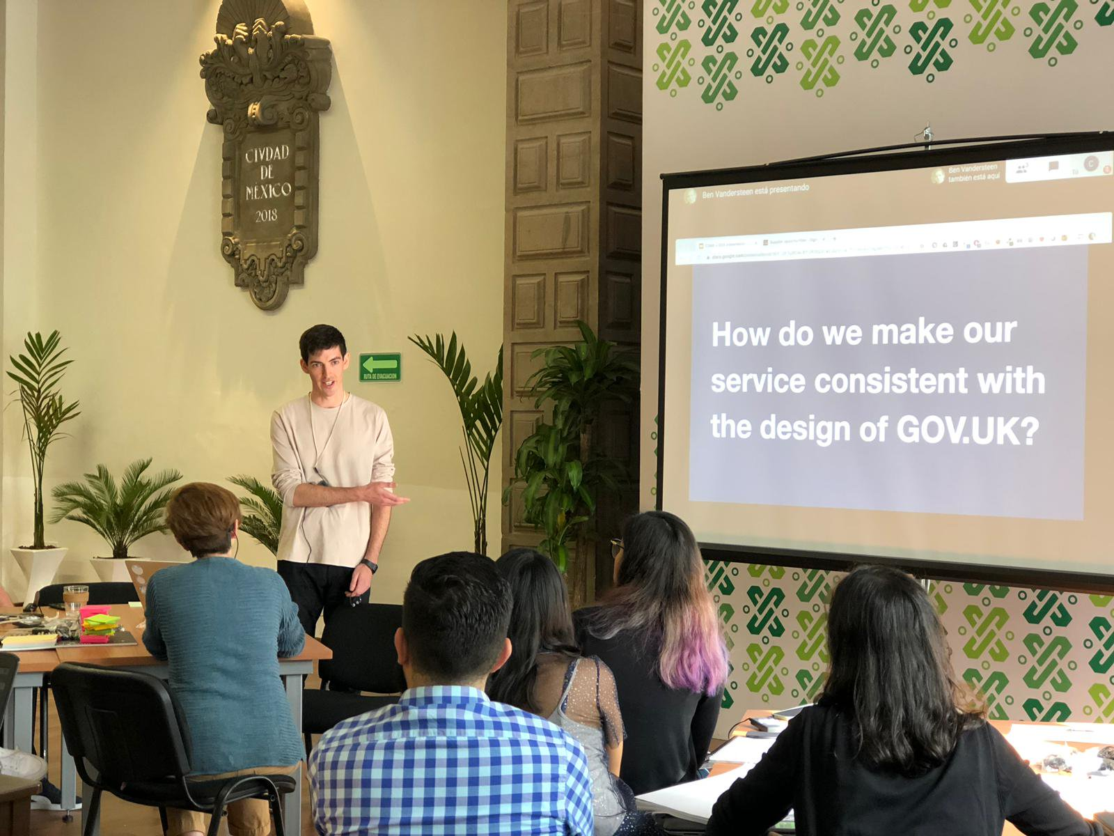 Laurence presenting about design in the UK government